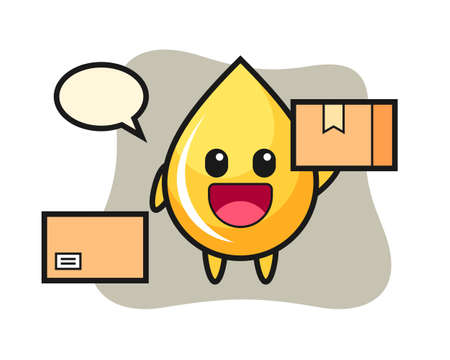 Mascot illustration of honey drop as a courier, cute style design for t shirt, sticker, logo element