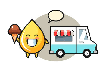 Mascot cartoon of honey drop with ice cream truck, cute style design for t shirt, sticker, logo element