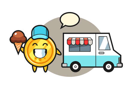Mascot cartoon of medal with ice cream truck, cute style design for t shirt, sticker, logo element 矢量图像