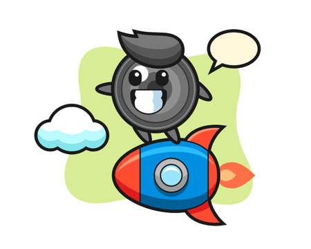 Camera lens mascot character riding a rocket, cute style design for t shirt, sticker, logo element 向量圖像