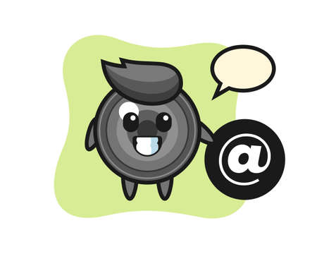 Cartoon illustration of camera lens standing beside the At symbol, cute style design for t shirt, sticker, logo element