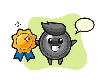 Camera lens mascot illustration holding a golden badge, cute style design for t shirt, sticker, logo element 向量圖像