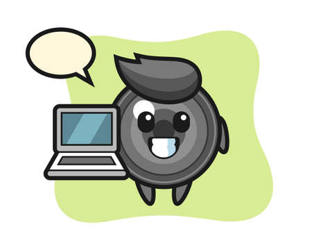 Mascot illustration of camera lens with a laptop, cute style design for t shirt, sticker, logo element