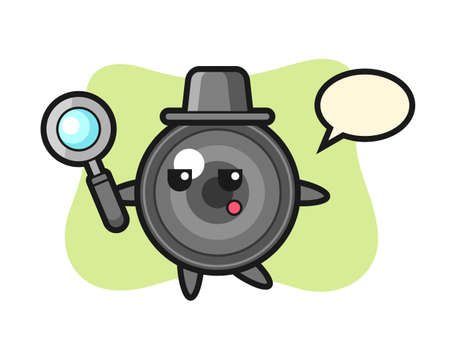 Camera lens cartoon character searching with a magnifying glass, cute style design for t shirt, sticker, logo element