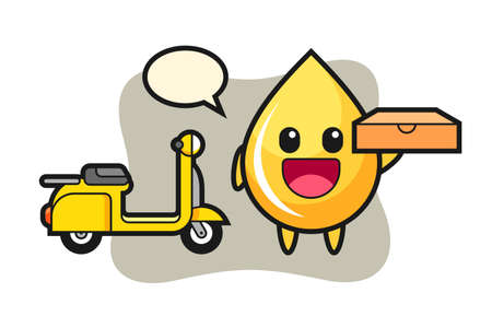 Character illustration of honey drop as a pizza deliveryman, cute style design for t shirt, sticker, logo element