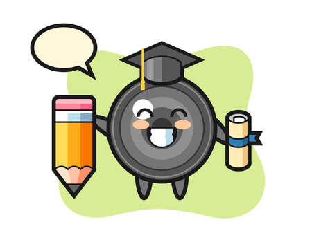 Camera lens illustration cartoon is graduation with a giant pencil, cute style design for t shirt, sticker, logo element