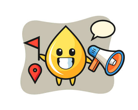 Character cartoon of honey drop as a tour guide, cute style design for t shirt, sticker, logo element