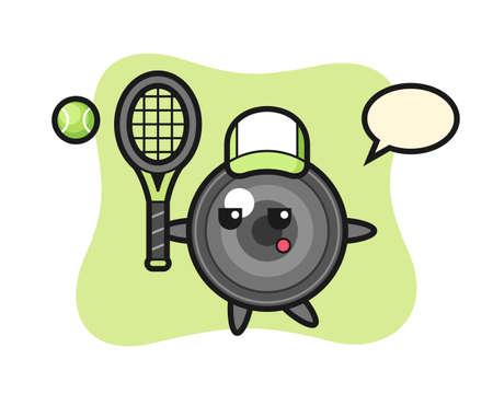 Cartoon character of camera lens as a tennis player, cute style design for t shirt, sticker, logo element