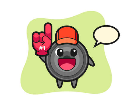 Camera lens illustration cartoon with number 1 fans glove, cute style design for t shirt, sticker, logo element