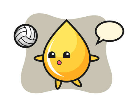 Character cartoon of honey drop is playing volleyball, cute style design for t shirt, sticker, logo element Illustration