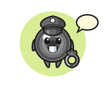 Cartoon mascot of camera lens as a police, cute style design for t shirt, sticker, logo element 向量圖像