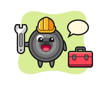 Mascot cartoon of camera lens as a mechanic, cute style design for t shirt, sticker, logo element