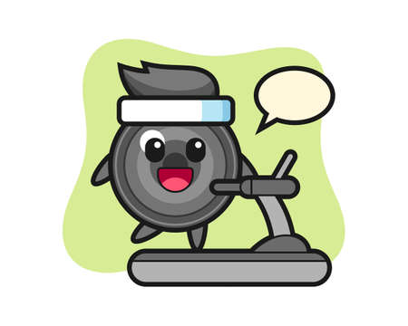 Camera lens cartoon character walking on the treadmill, cute style design for t shirt, sticker, logo element 向量圖像