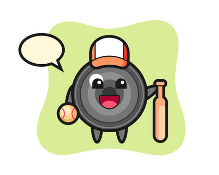 Cartoon character of camera lens as a baseball player, cute style design for t shirt, sticker, logo element 向量圖像