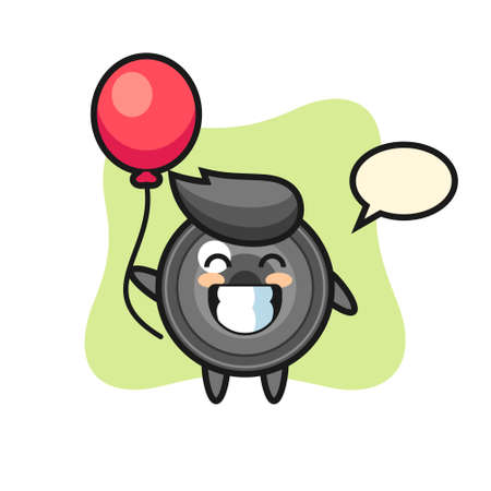 Camera lens mascot illustration is playing balloon, cute style design for t shirt, sticker, logo element