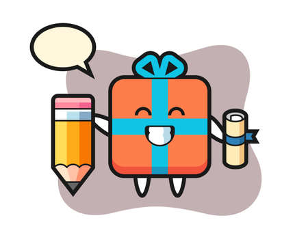 Gift box illustration cartoon is graduation with a giant pencil, cute style design for t shirt, sticker, logo element