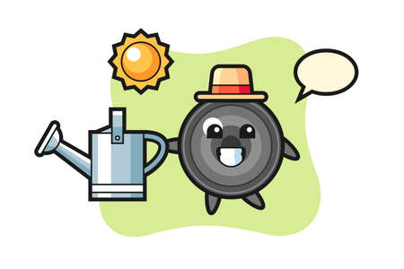 Cartoon character of camera lens holding watering can, cute style design for t shirt, sticker, logo element