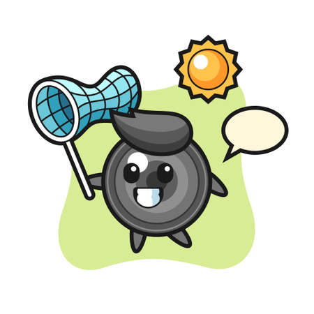 Camera lens mascot illustration is catching butterfly, cute style design for t shirt, sticker, logo element 向量圖像