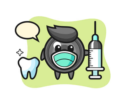 Mascot character of camera lens as a dentist, cute style design for t shirt, sticker, logo element