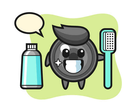 Mascot illustration of camera lens with a toothbrush, cute style design for t shirt, sticker, logo element