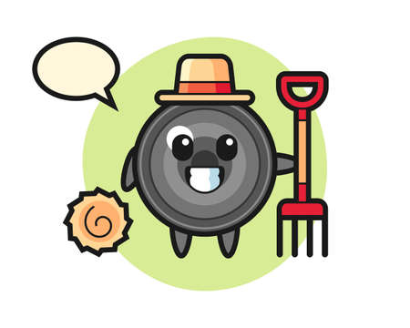Mascot character of camera lens as a farmer, cute style design for t shirt, sticker, logo element
