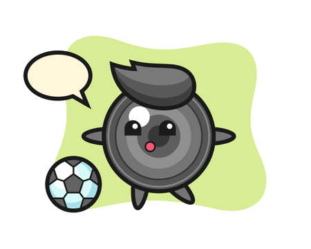 Illustration of camera lens cartoon is playing soccer, cute style design for t shirt, sticker, logo element