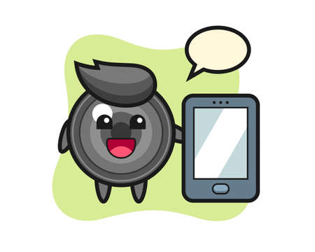 Camera lens illustration cartoon holding a smartphone, cute style design for t shirt, sticker, logo element