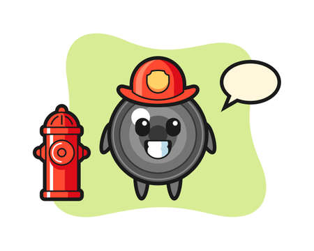 Mascot character of camera lens as a firefighter, cute style design for t shirt, sticker, logo element