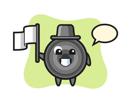 Cartoon character of camera lens holding a flag, cute style design for t shirt, sticker, logo element