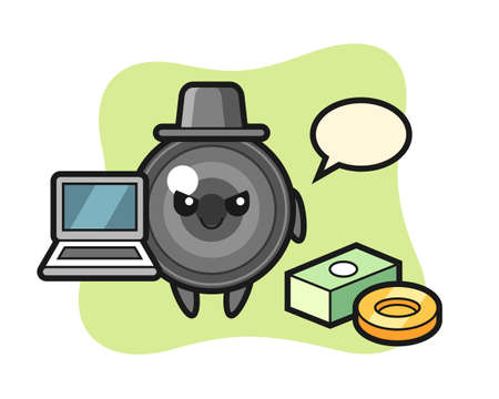 Mascot illustration of camera lens as a hacker, cute style design for t shirt, sticker, logo element 向量圖像