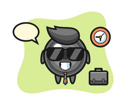 Cartoon mascot of camera lens as a businessman, cute style design for t shirt, sticker, logo element