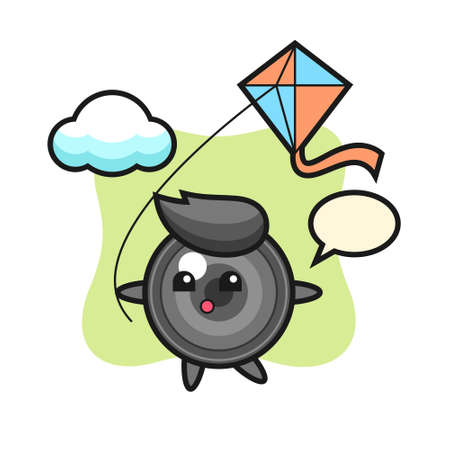 Camera lens mascot illustration is playing kite, cute style design for t shirt, sticker, logo element