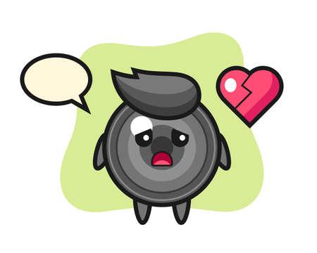 Camera lens cartoon illustration is broken heart, cute style design for t shirt, sticker, logo element 向量圖像
