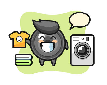 Mascot cartoon of camera lens with washing machine, cute style design for t shirt, sticker, logo element