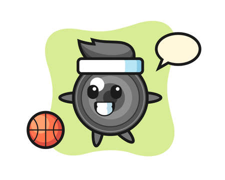 Illustration of camera lens cartoon is playing basketball, cute style design for t shirt, sticker, logo element