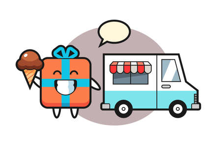 Mascot cartoon of gift box with ice cream truck, cute style design for t shirt, sticker, logo element 矢量图像