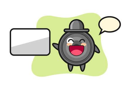 Camera lens cartoon illustration doing a presentation, cute style design for t shirt, sticker, logo element