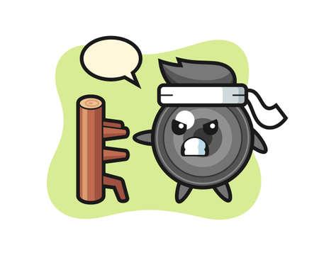 Camera lens cartoon illustration as a karate fighter, cute style design for t shirt, sticker, logo element