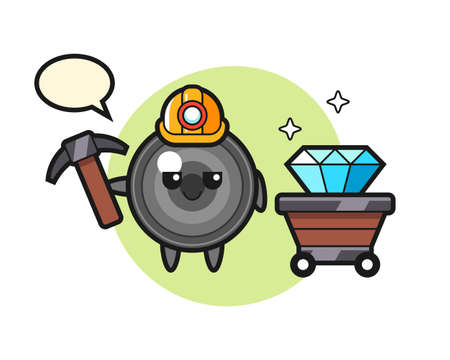 Character illustration of camera lens as a miner, cute style design for t shirt, sticker, logo element