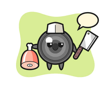 Illustration of camera lens character as a butcher, cute style design for t shirt, sticker, logo element 向量圖像