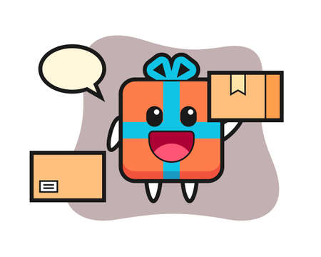 Mascot illustration of gift box as a courier, cute style design for t shirt, sticker, logo element 向量圖像