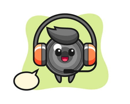 Cartoon mascot of camera lens as a customer service, cute style design for t shirt, sticker, logo element
