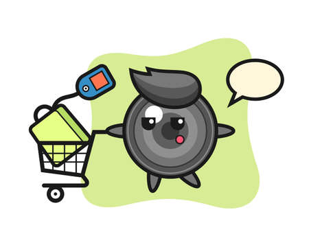 Camera lens illustration cartoon with a shopping cart, cute style design for t shirt, sticker, logo element