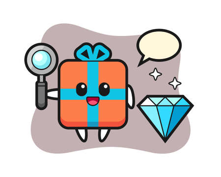 Illustration of gift box character with a diamond, cute style design for t shirt, sticker, logo element
