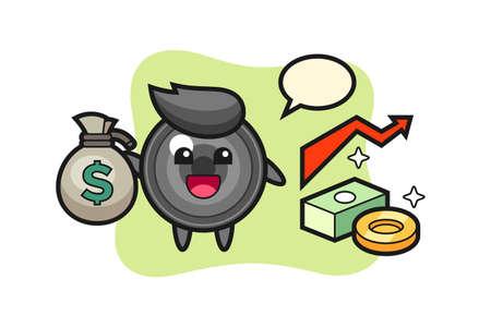 Camera lens illustration cartoon holding money sack, cute style design for t shirt, sticker, logo element