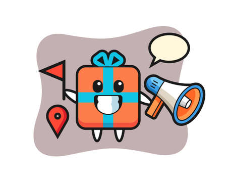 Character cartoon of gift box as a tour guide, cute style design for t shirt, sticker, logo element