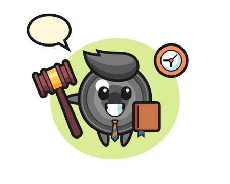 Mascot cartoon of camera lens as a judge, cute style design for t shirt, sticker, logo element 向量圖像
