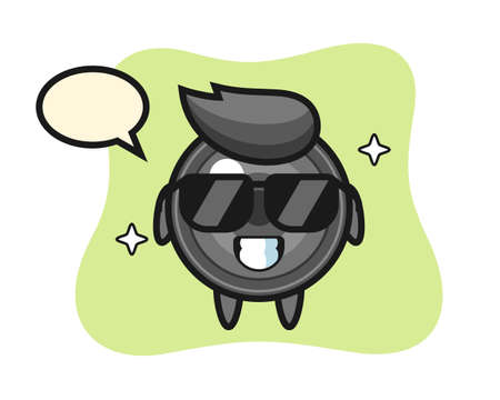 Cartoon mascot of camera lens with cool gesture, cute style design for t shirt, sticker, logo element 向量圖像