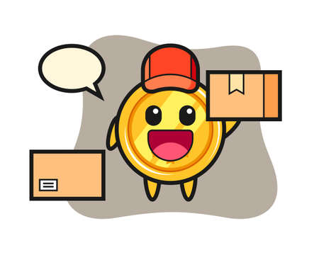 Mascot illustration of medal as a courier, cute style design for t shirt, sticker, logo element