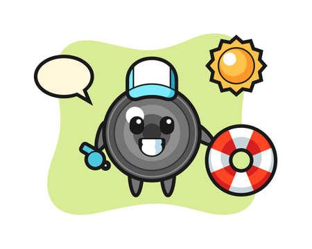 Cartoon mascot of camera lens as a beach guard, cute style design for t shirt, sticker, logo element 向量圖像